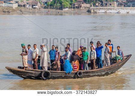 Khulna, Bangladesh - November 16, 2016: People On A Ferry On Rupsa River In Khulna, Bangladesh