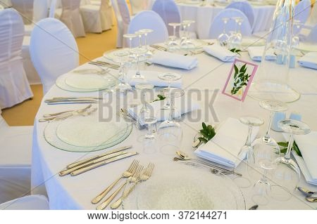 Serving Table Setting At A Banquet For A Reception Before A Large Reception