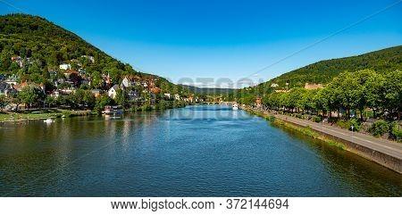 River Neckar In The German City Of Heidelberg On A Sunny Day. High Quality Photo - Heidelberg, Germa