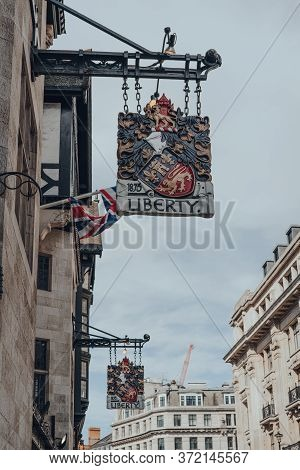 London, Uk - June 13, 2020: Signs Outside Liberty Department Store In London, Selective Focus. Opene