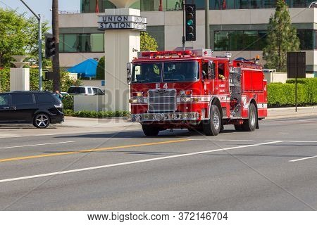 Los Angeles, California, Usa- 11 June 2015: Fire Brigade Car On Streets, Los Angeles Fire Dept.