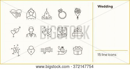Wedding Line Icons. Set Of Line Icons. Honeymoon Tickets, Wedding Present, Love Melody. Wedding Conc