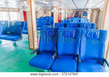 Morrelganj, Bangladesh - November 19, 2016: Second Class Chairs Of Mv Modhumoti Ship, Bangladesh