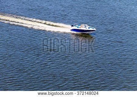 Kremenchug, Ukraine - July 2, 2017: Motor Boat Floating On The River Dnieper