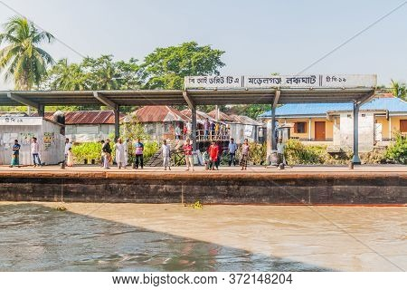 Morrelganj, Bangladesh - November 19, 2016: Morrelganj Village Launch Ghat Pier , Bangladesh