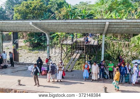 Sannasi, Bangladesh - November 19, 2016: Sannasi Village Launch Ghat Pier , Bangladesh