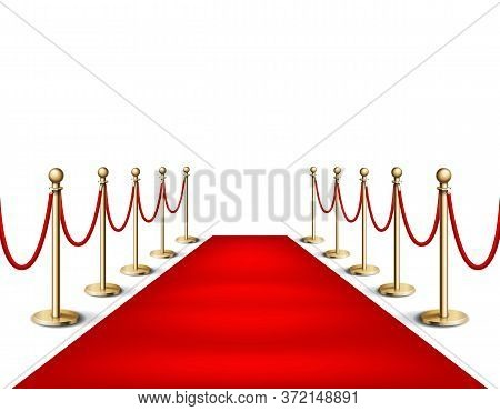 Vector Illustration Red Event Carpet And Golden Barriers Realistic Illustration In White Background.