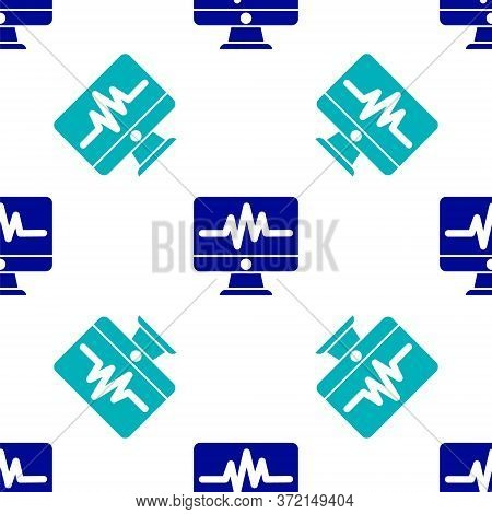 Blue Computer Monitor With Cardiogram Icon Isolated Seamless Pattern On White Background. Monitoring