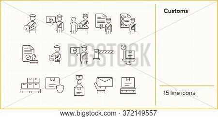 Customs Icons. Set Of Line Icons. Customs Officer, Passport Check, Custom Border. Airport Concept. V