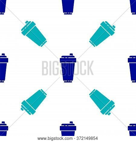 Blue Fitness Shaker Icon Isolated Seamless Pattern On White Background. Sports Shaker Bottle With Li