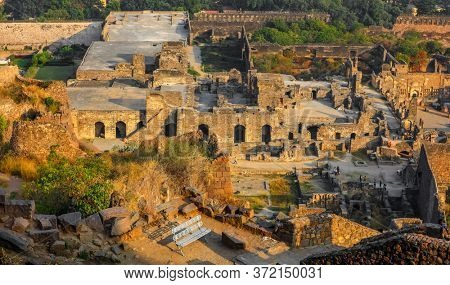 HYDERABAD,INDIA -December 27, Golconda fort in Hyderabad on December 27,2018, Golconda fort near Hyderabad faces threat from land marauders encroachment.