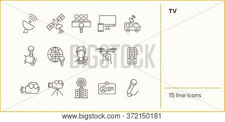 Tv Icons. Simple Icons Collection On White Background. Satellite, Live Broadcast, Voice Recorder. Br