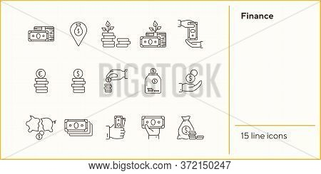 Finance Icons. Line Icons Collection On White Background. Payment, Saving, Coin Stack. Money Concept
