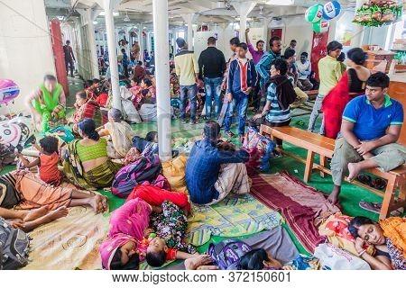 Bishkhali River, Bangladesh - November 19, 2016: Passengers Of The Third Class Of Mv Modhumoti Ship,