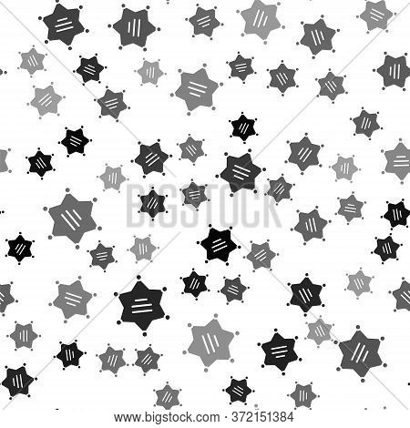 Black Hexagram Sheriff Icon Isolated Seamless Pattern On White Background. Police Badge Icon. Vector