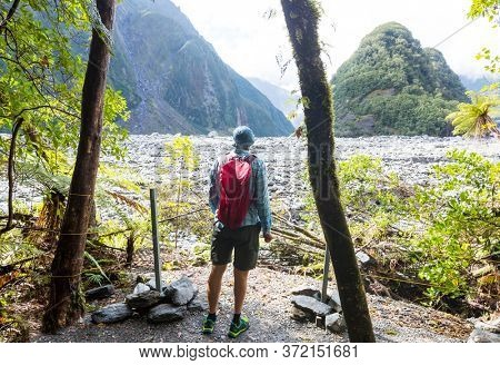 Hiking and tramping in New Zealand. Travel and adventure concept