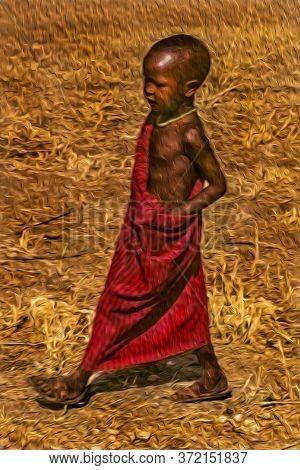 Serengeti, Tanzania - February 7, 1997. Maasai Child Wearing Typical Clothes In The Serengeti. A Nat