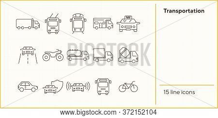 Transportation Line Icon Set. Tram, Camper, Van, Bus, Bicycle. Transport Concept. Can Be Used For To