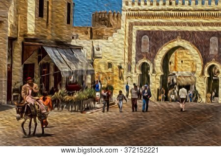 People In Front Of The Bab Bou Jeloud Gate On The Old Medina Of Fez. With Its Old Tanneries And Larg