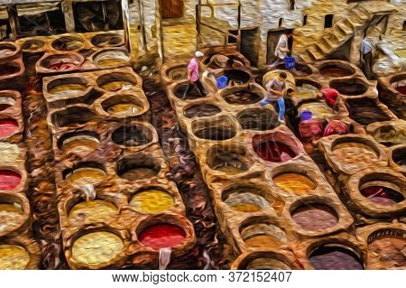 Colorful Tanks In The Chouara Leather Tannery At The Old Medina Of Fez. With Its Old Tanneries And L