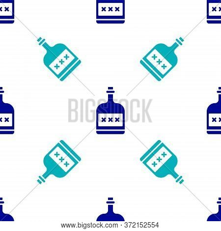 Blue Alcohol Drink Rum Bottle Icon Isolated Seamless Pattern On White Background. Vector Illustratio