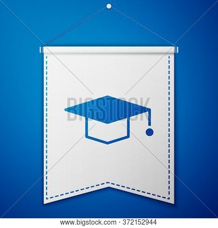 Blue Graduation Cap Icon Isolated On Blue Background. Graduation Hat With Tassel Icon. White Pennant