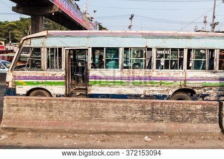 Dhaka, Bangladesh - November 21, 2016: View Of A Severely Battered Bus In Dhaka, Bangladesh