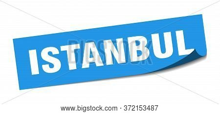 Istanbul Sticker. Istanbul Blue Square Peeler Sign