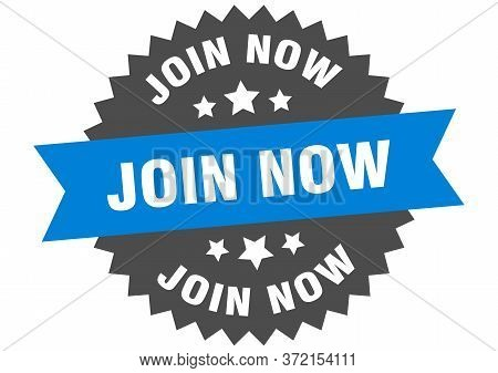 Join Now Sign. Join Now Blue-black Circular Band Label