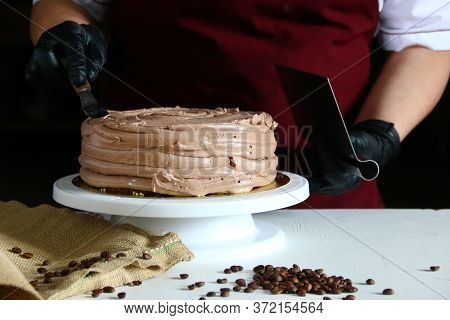 Chocolate Cake Process. Process Of Cooking Chocolate Bakery Pastry With Melting Chocolate. Ingredien