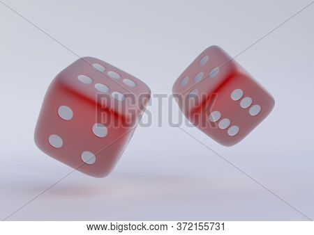 Two Rolling Dice, Poker Dice, Ivories, Bone, Devil's Bones On White Background In Red Colors With Co