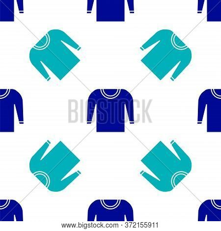 Blue Sweater Icon Isolated Seamless Pattern On White Background. Pullover Icon. Vector Illustration.