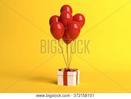 White Gift Box With Red Ribbon And Balloon On Pastel Yellow Background. Minimal Concept. 3d Render I