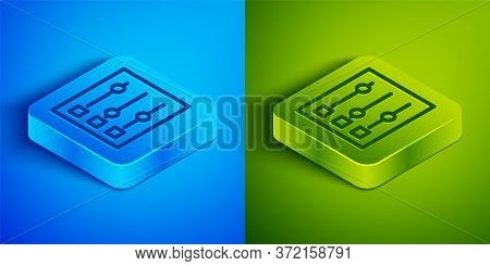 Isometric Line Car Settings Icon Isolated On Blue And Green Background. Auto Mechanic Service. Repai