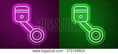 Glowing Neon Line Engine Piston Icon Isolated On Purple And Green Background. Car Engine Piston Sign