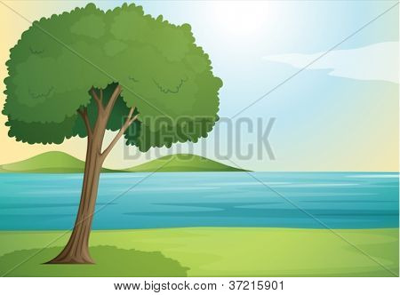 illustration of a tree and river in a beautiful nature