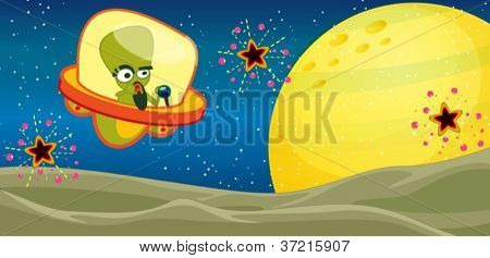 illustration of alien in the universe
