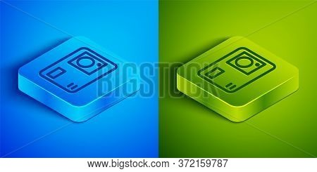 Isometric Line Action Extreme Camera Icon Isolated On Blue And Green Background. Video Camera Equipm