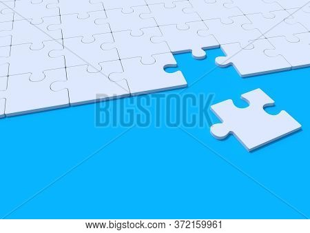 White Jigsaw Puzzle On Blue Background With Copy Space. Connected Blank Puzzle Pieces. Business Stra
