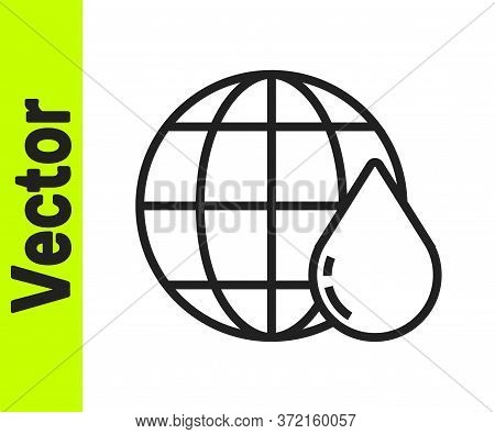 Black Line Earth Planet In Water Drop Icon Isolated On White Background. World Globe. Saving Water A