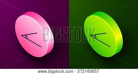 Isometric Line Acute Angle Of 45 Degrees Icon Isolated On Purple And Green Background. Circle Button
