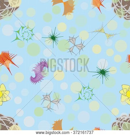 Creatures Of A Mysterious Fantastic Microworld, Seamless Pattern. Background For Textile And Other D
