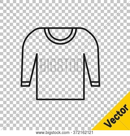 Black Line Sweater Icon Isolated On Transparent Background. Pullover Icon. Vector Illustration.