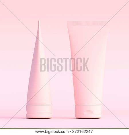 Pink Cream Tube. Packaging Tube. Plastic Tube For Medicine Or Cosmetics Cream, Gel, Skin Care, Tooth