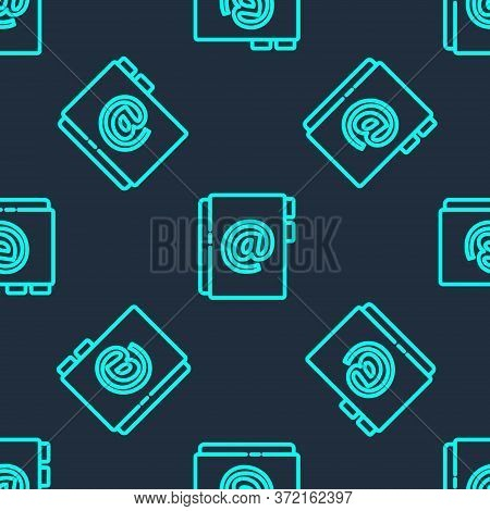 Green Line Address Book Icon Isolated Seamless Pattern On Blue Background. Notebook, Address, Contac