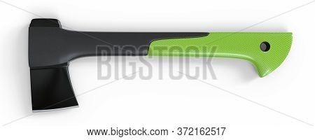 Axe Isolated On The White Background. Axe With Fibreglass Handle. Lumberjack Ax. Axe Tool. 3d Render