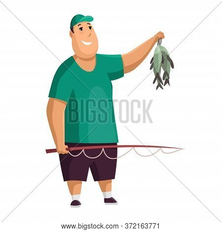 Young Fat Man With Fish Rod And Fishes In His Hands. Caught Two Fish. Fisher In Hat. Successful Fish