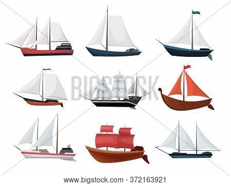 Collection Of Yachts, Sailboats Or Sailing Ships. Cruise Travel Company Icons Design. Vector Old Ves