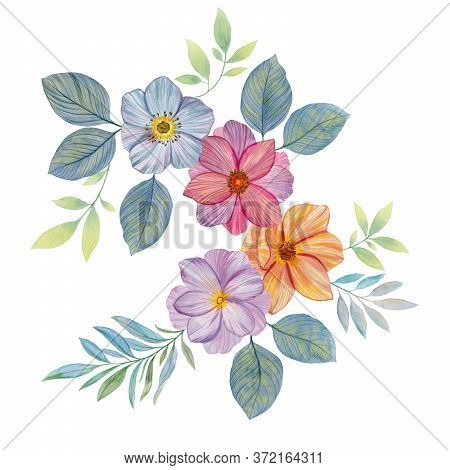 Flower Arrangement Isolate On A White Background. Watercolor Hand Painted Flowers. Can Be Used As Ro