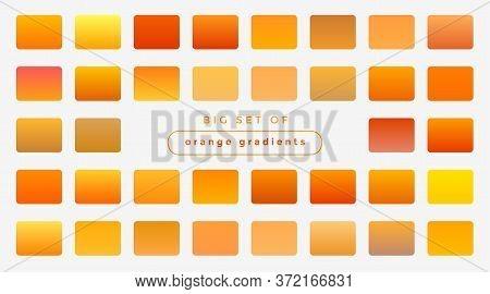 Set Of Bright Orange And Yellow Gradients Design Vector Illustration